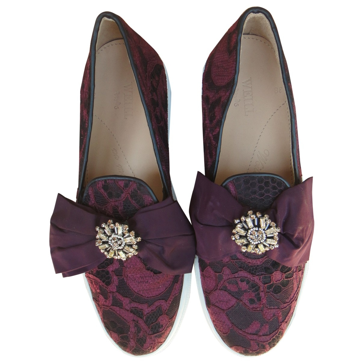 Non Signé / Unsigned \N Burgundy Cloth Trainers for Women 38 EU
