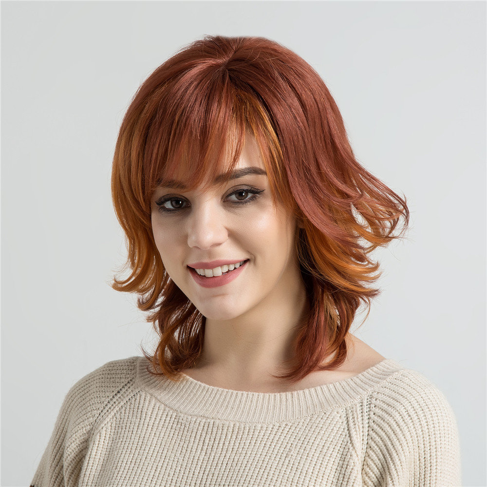 Orange Red Real Human Short Hair Wigs Curly Tail Fashion Women Hair Wig