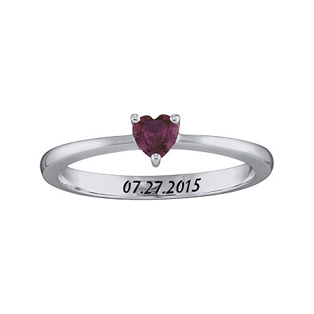 Personalized Girls Heart Birthstone Ring, 4 , White