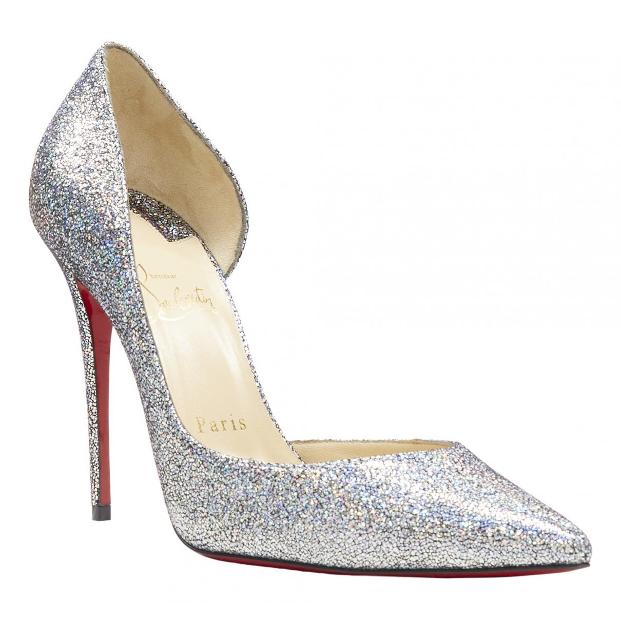 Christian Louboutin Iriza Silver Glitter Heels for Women 38 EU