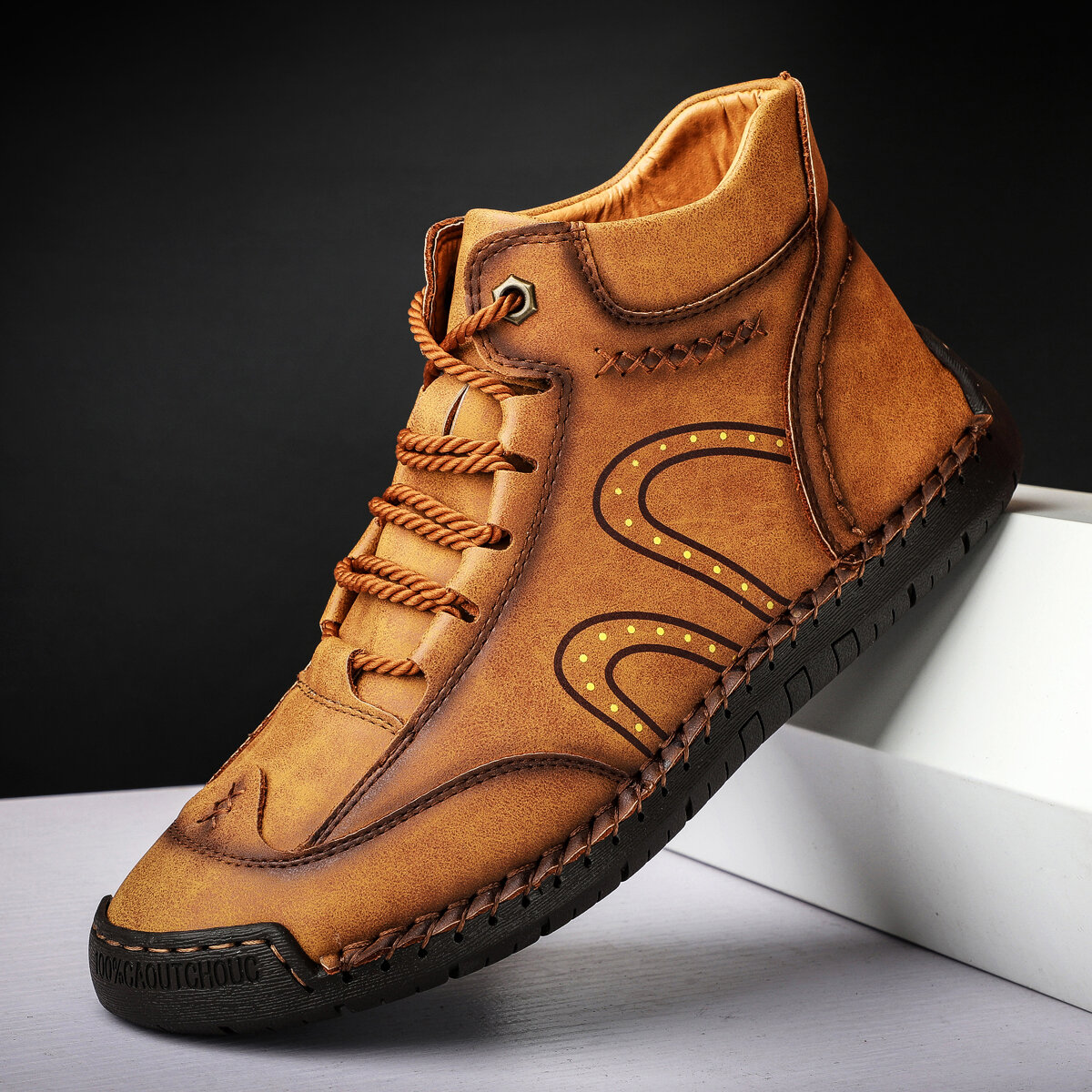 Men Rubber Toe Cap Hand Stitching Microfiber Leather Ankle Boots