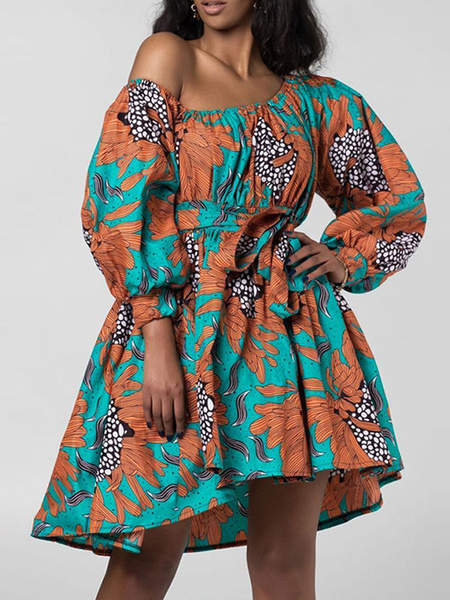 Milanoo Women Skater Dresses One-Shoulder Long Sleeves Lace Up Printed Dashiki Dress