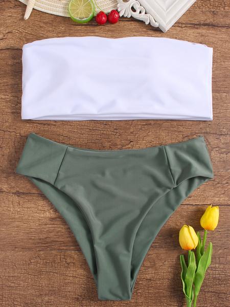 Yoins Simple White Bandeau Bikini Top & Army Green Bottom Set