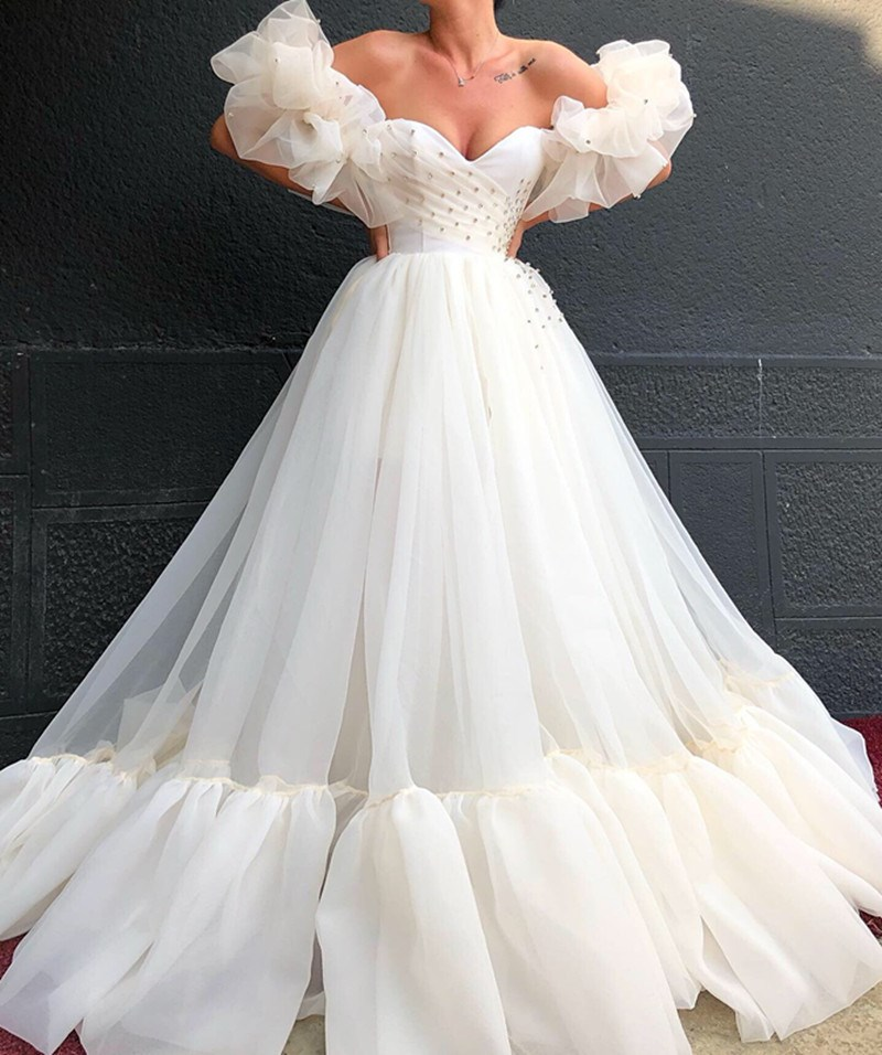 Ericdress Strapless A-Line Long Sleeves Wedding Dress 2020