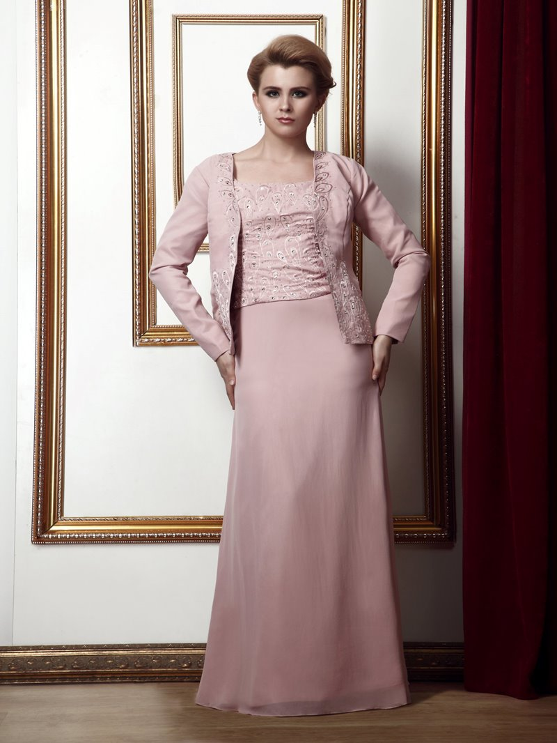 Special Sheath/Column Square Neckline Floor-Length Alina's Mother of the Bride Dress With Jacket/Shawl