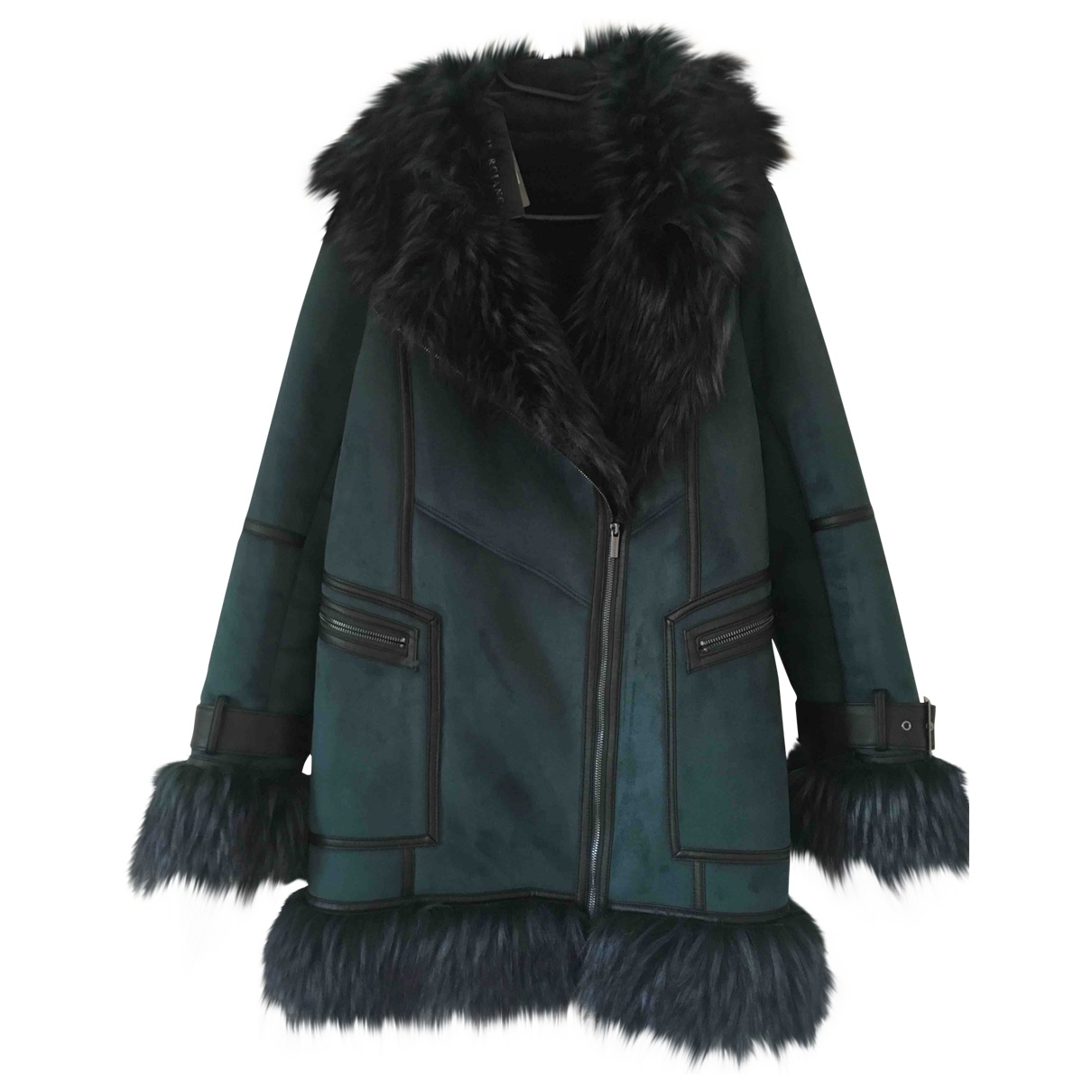 Non Signé / Unsigned \N Green Faux fur coat for Women 44 IT