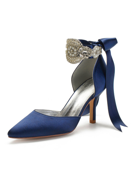 Milanoo Wedding Shoes Satin Blue Pointed Toe Pearls Stiletto Heel Back Bow Bridal Shoes
