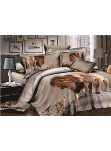 3D Lion and Cub Printed Cotton 4-Piece Bedding Sets/Duvet Covers