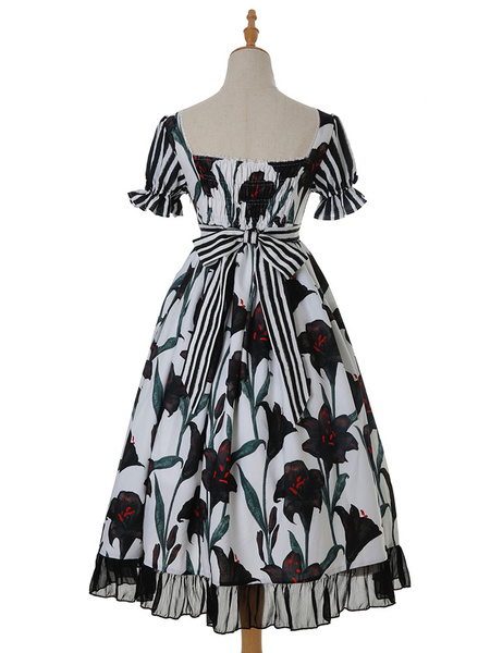Milanoo Classic Lolita OP Dress Who Planted The Black Lily Floral Print Bows Chiffon Ruffle Lolita One Piece Dresses