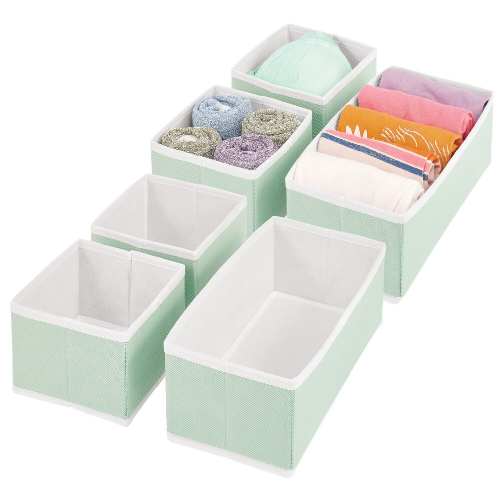 Fabric Drawer Organizer for Closet Storage with White Trim in Mint Green/White, 11.5