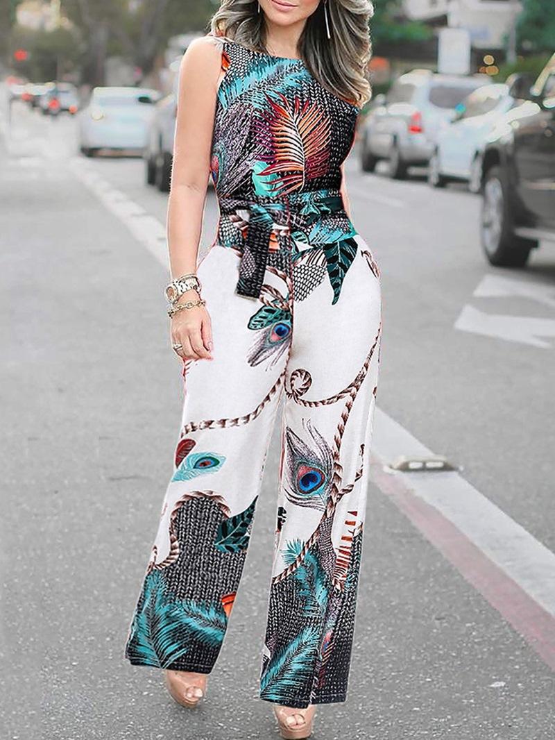 Ericdress African Fashion Strap Print High Waist Jumpsuit