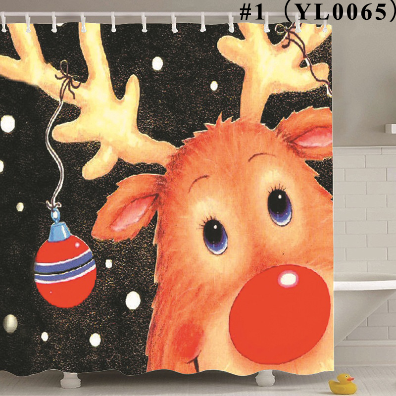Christmas Pattern Polyester Waterproof Antibacterial Eco-friendly Shower Curtain