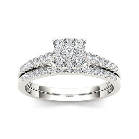 1/2 CT. T.W. Diamond 10K White Gold Engagement Ring, 7 , No Color Family