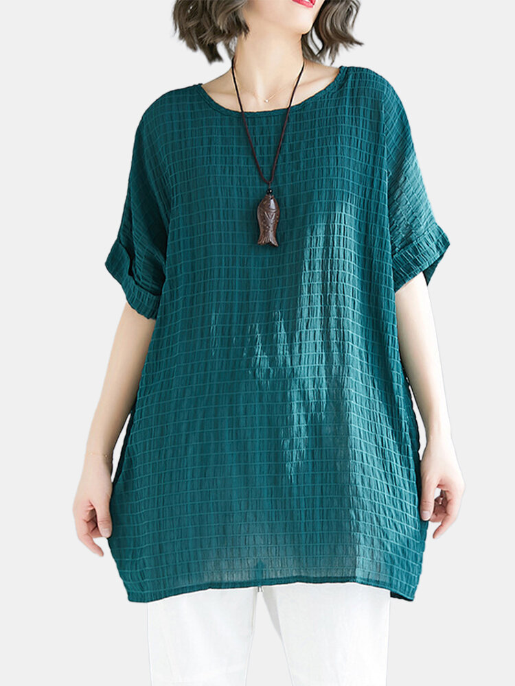 Short Sleeve Loose Plaid Crew Neck Casual T-shirt For Women