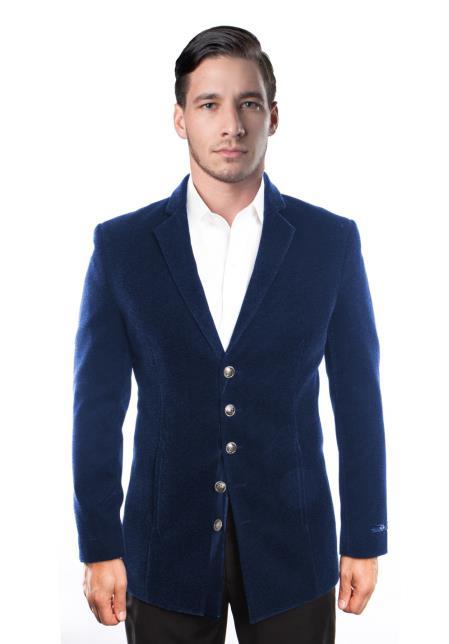Men's Notch Lapel 5 Button Velvet Single Breasted Blazer Jacket Blue