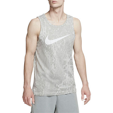 Nike Mens Crew Neck Sleeveless Moisture Wicking Tank Top, Medium , Gray