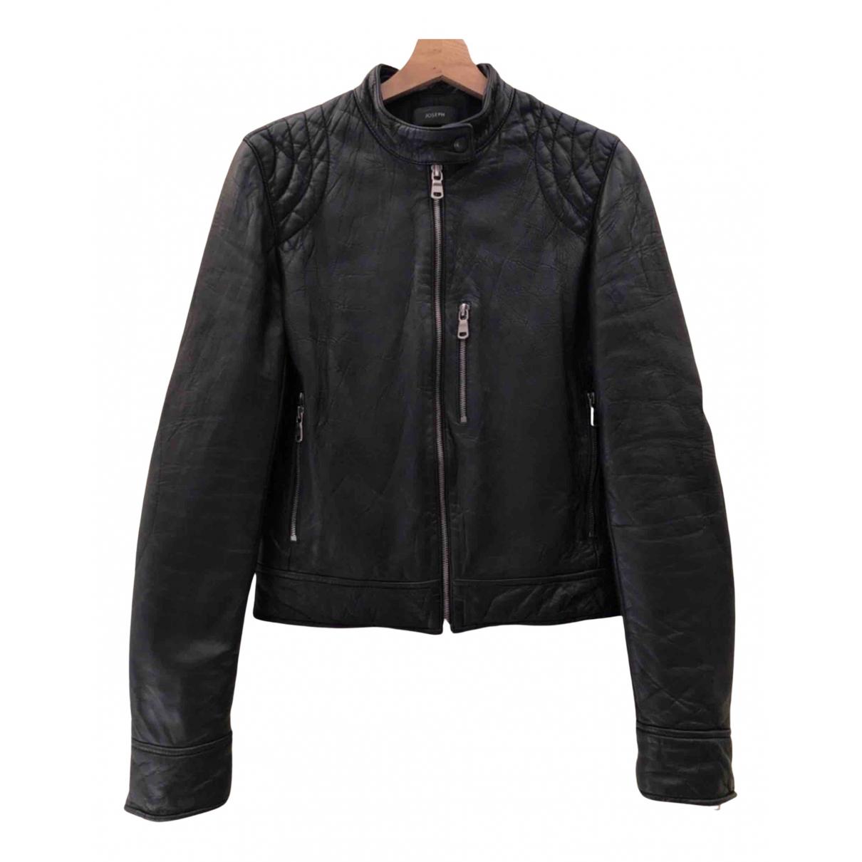 Joseph \N Black Leather Leather jacket for Women 36 FR