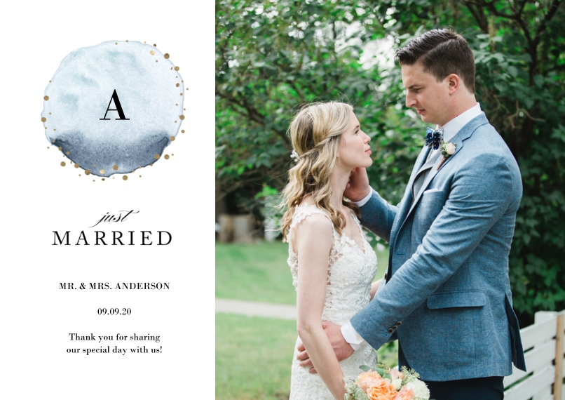 Just Married 5x7 Cards, Premium Cardstock 120lb with Rounded Corners, Card & Stationery -Wedding Just Married Watercolor Monogram by Tumbalina