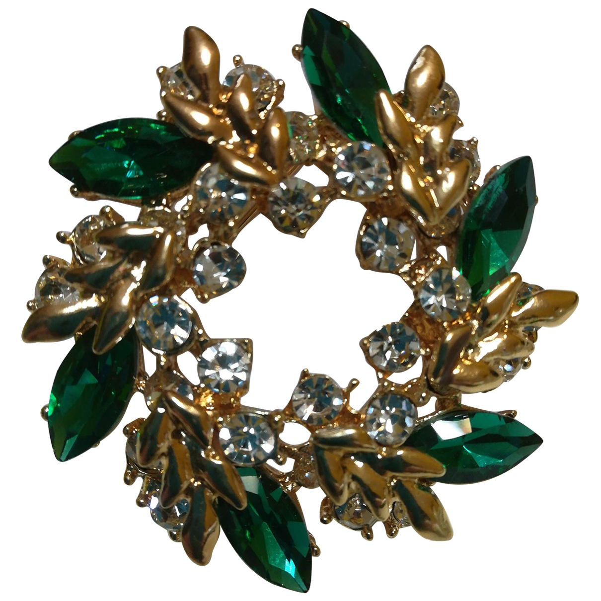 Non Signé / Unsigned Emeraude Gold Metal Pins & brooches for Women \N