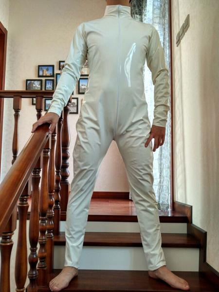 Milanoo Halloween Unisex Cream White PVC Front Open Shiny Metallic Catsuit