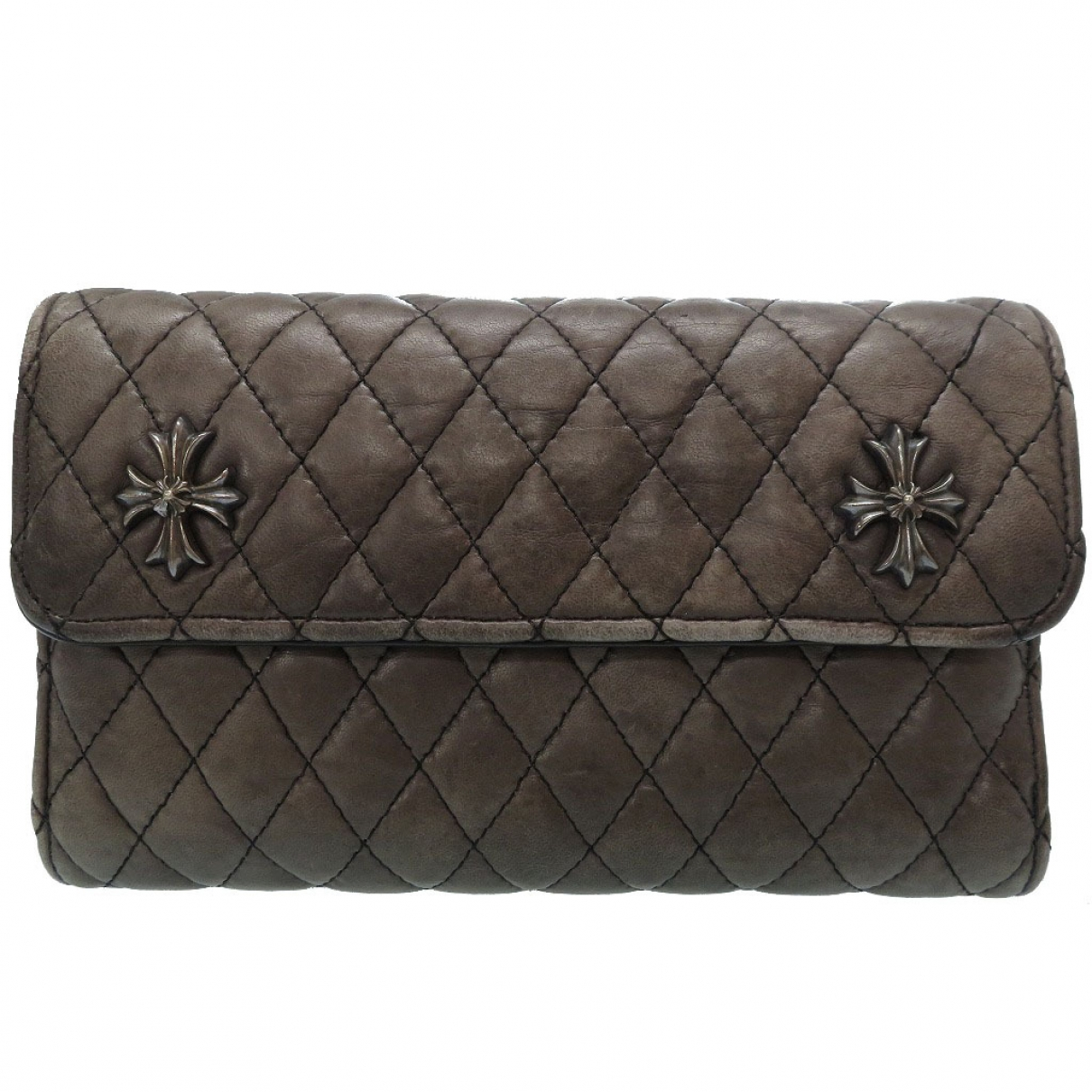 Chrome Hearts \N Grey Leather Small bag, wallet & cases for Men \N