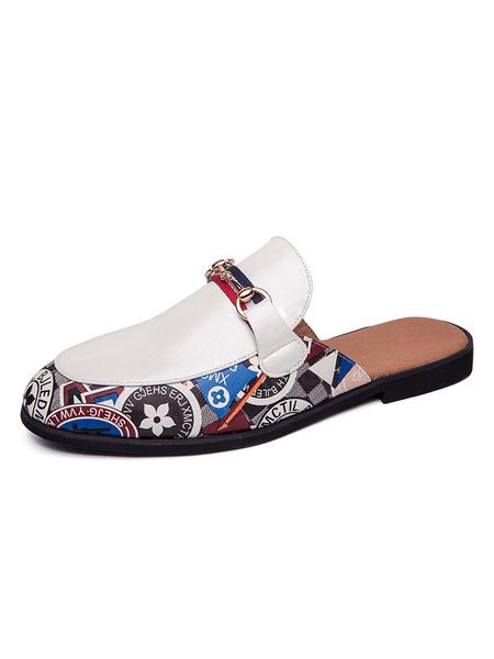 Milanoo Mens Sandals Slip-On Artwork PU Leather Rubber Sole Men\'s Slipper