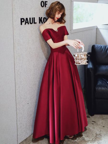 Milanoo Evening Dress A-Line Bateau Neck Matte Satin Floor-Length Pleated Formal Party Dresses