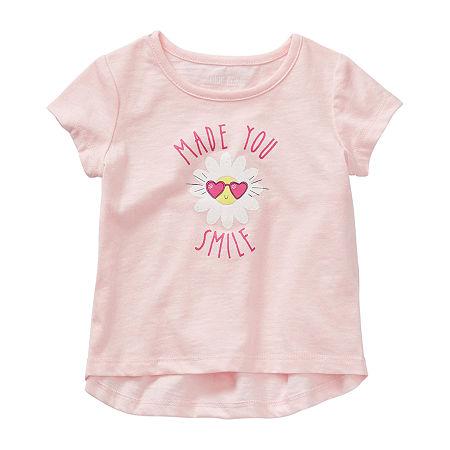 Okie Dokie Baby Girls Round Neck Short Sleeve Graphic T-Shirt, 3 Months , Pink