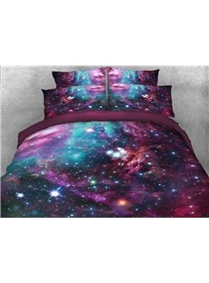 Vivilinen 3D Stars and Multicolored Galaxy Printed 5-Piece Comforter Sets