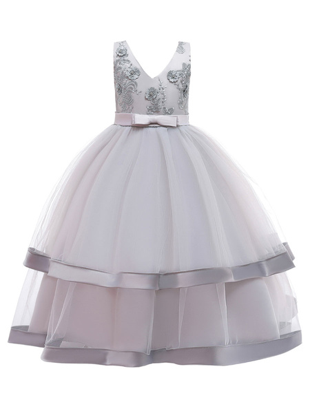 Milanoo Flower Girl Dresses V Neck Polyester Cotton Sleeveless Ankle Length Princess Silhouette Embroidered Kids Party Dresses