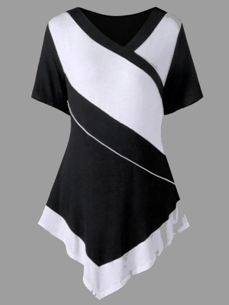 Ericdress Patchwork Asymmetric Color Block Short Sleeve T-shirt