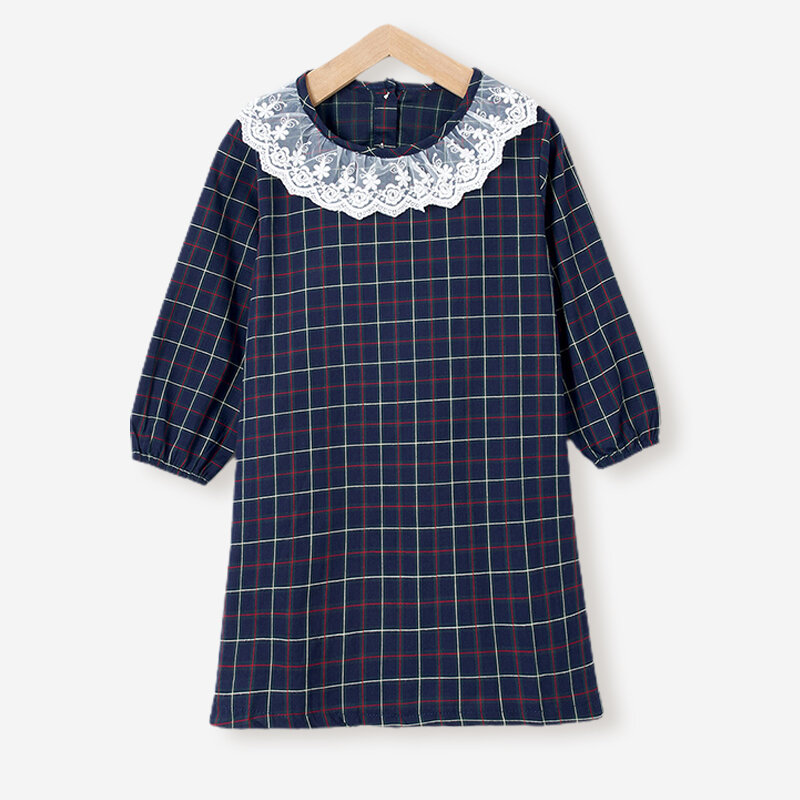 Girl's Plaid Print Long Sleeves Lace Collar Casual Dress For 2-8Y