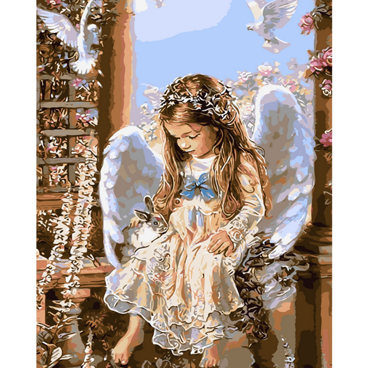 DIY painting Angel with wings wall decor Linen Canvas
