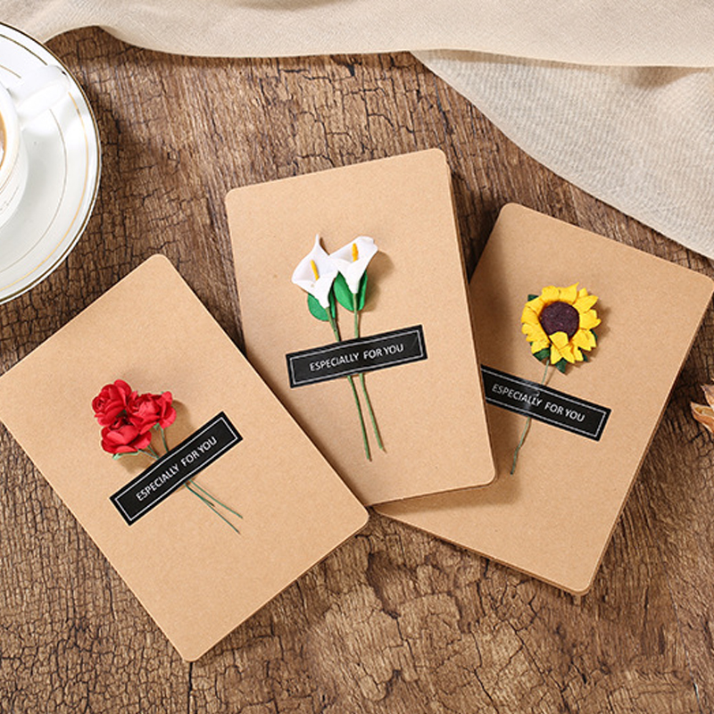 3 Kinds of Dried Fowers for Christmas Valentine's Day Greeting Card