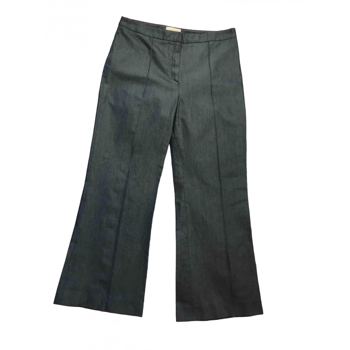 Valentino Garavani \N Blue Silk Trousers for Women 46 IT