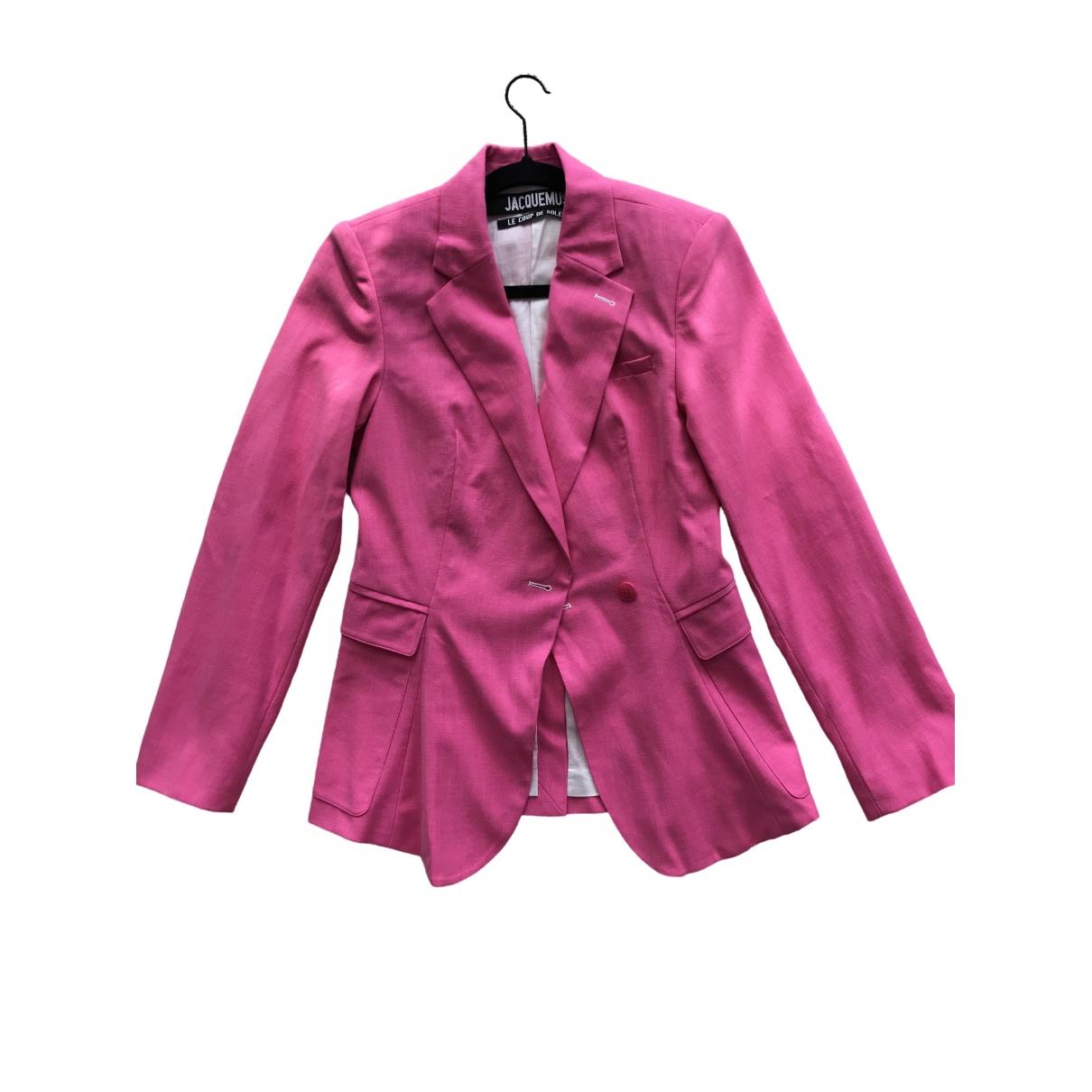 Jacquemus Le coup de soleil Pink Silk jacket for Women 36 FR