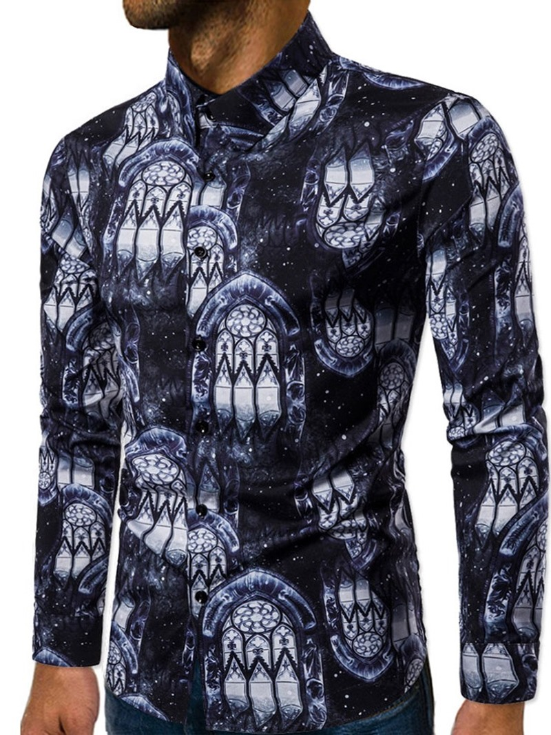 Ericdress Lapel Color Block European Men's Slim Shirt