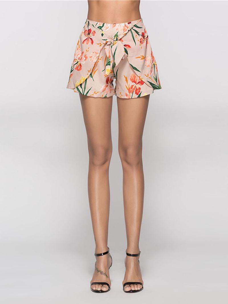 Ericdress Asymmetric Print Bowknot Women's Shorts