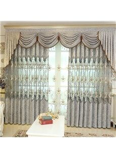 European Style Blackout Drapes Light Grey Grommet Curtains Embroidered 2 Panels Custom Living Room Bedroom Curtains No Pilling No Fading No off-lining