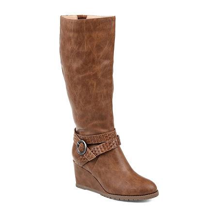Journee Collection Womens Garin Dress Zip Boots Wedge Heel, 7 1/2 Medium, Brown