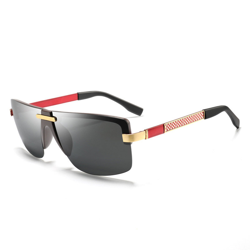 Men's Classic Metal Frame HD Large Lens Wide Vision Casual Polarized Sunglasses