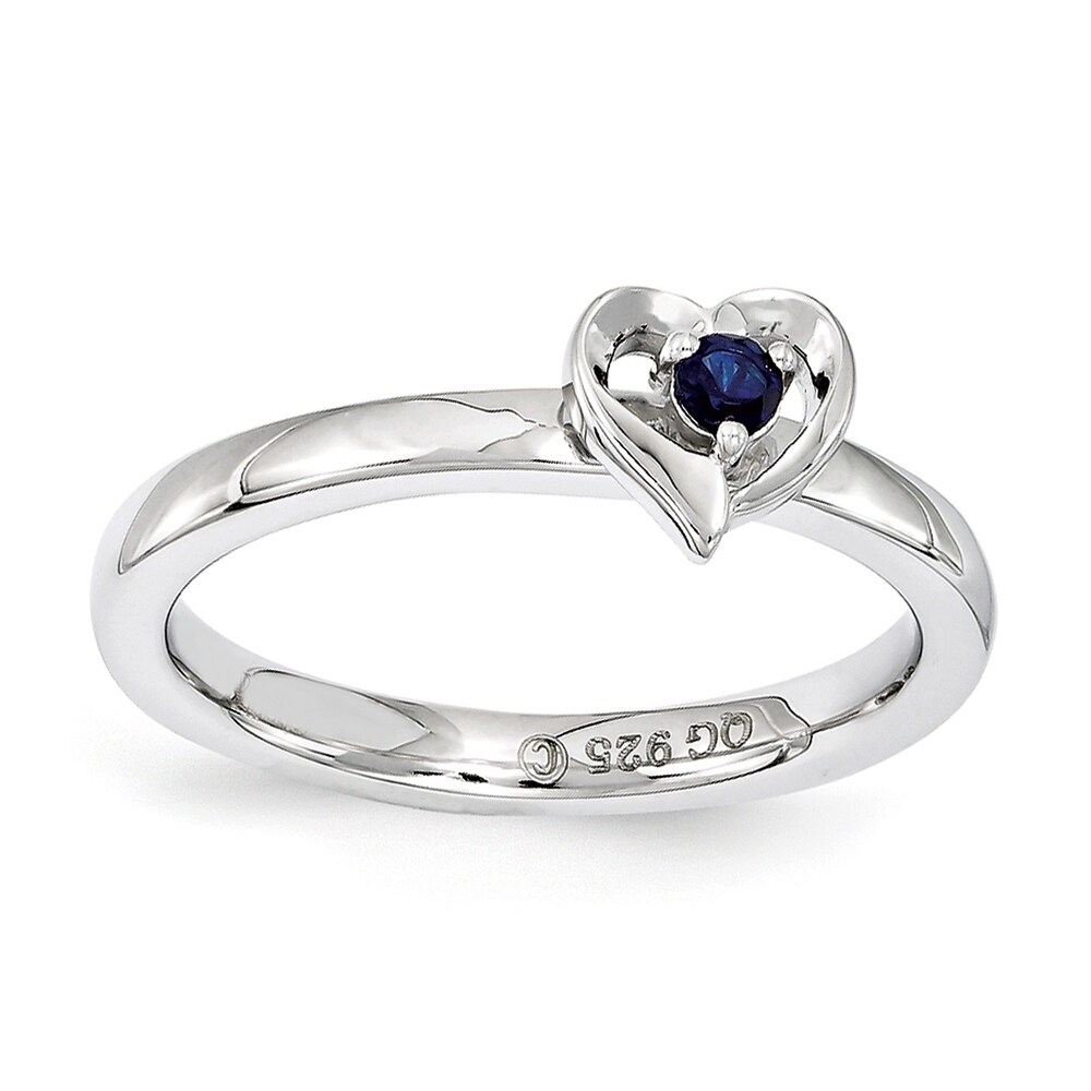 Sterling Silver Affordable Expressions Created Sapphire Heart Ring (9)