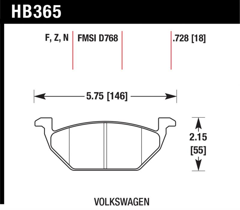 Hawk Performance HB365F.728A Disc Brake Pad Volkswagen Front