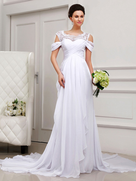 Milanoo Off-The-Shoulder Strapless White Wedding Dress