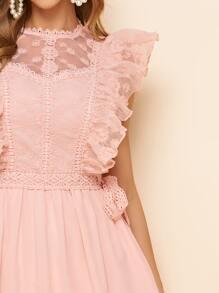 Embroidered Ruffled Self-Tie Midi Dress