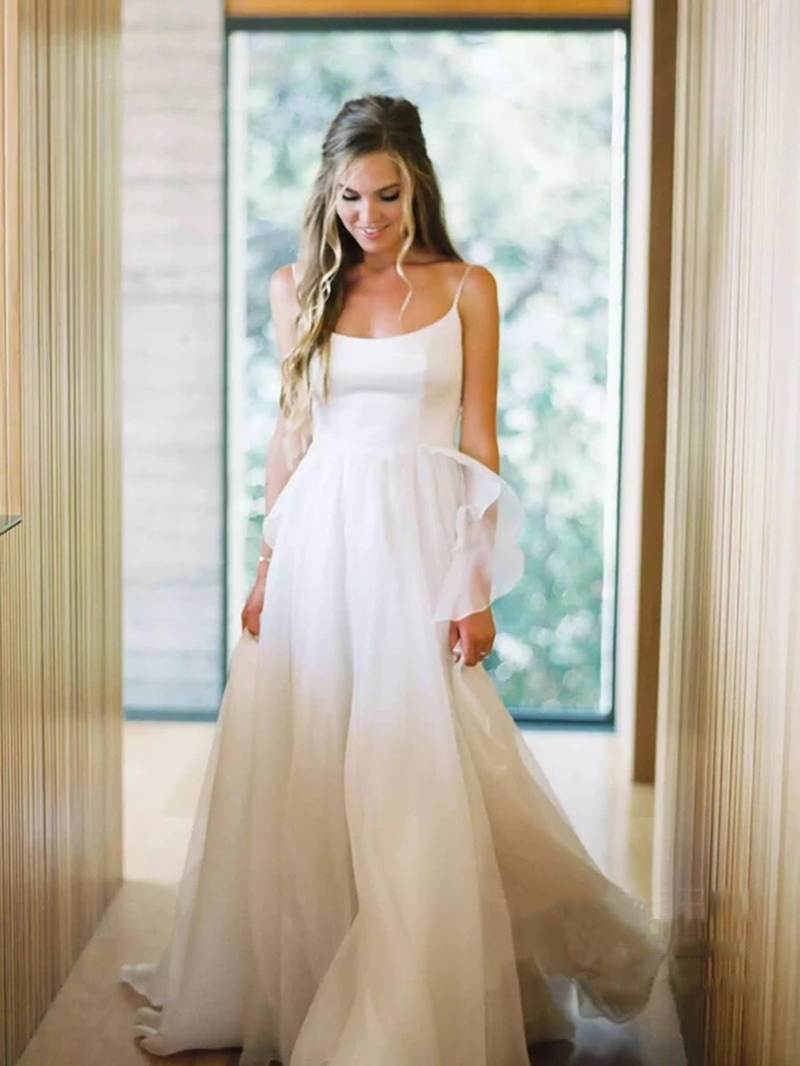 Ericdress A-Line Spaghetti Straps Court Sleeveless Beach Wedding Dress 2020
