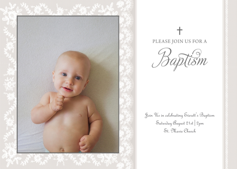 Baptism Invitations 5x7 Cards, Premium Cardstock 120lb with Elegant Corners, Card & Stationery -Baptism Invitation
