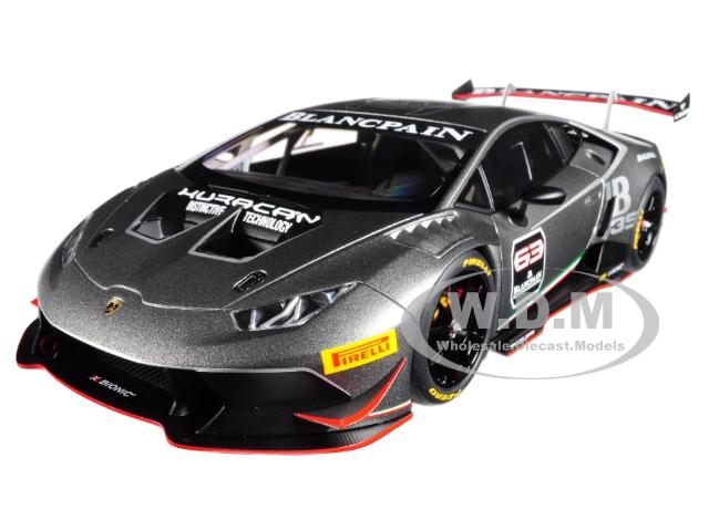 2015 Lamborghini Huracan Super Trofeo Dark Gray 63 1/18 Model Car by Autoart