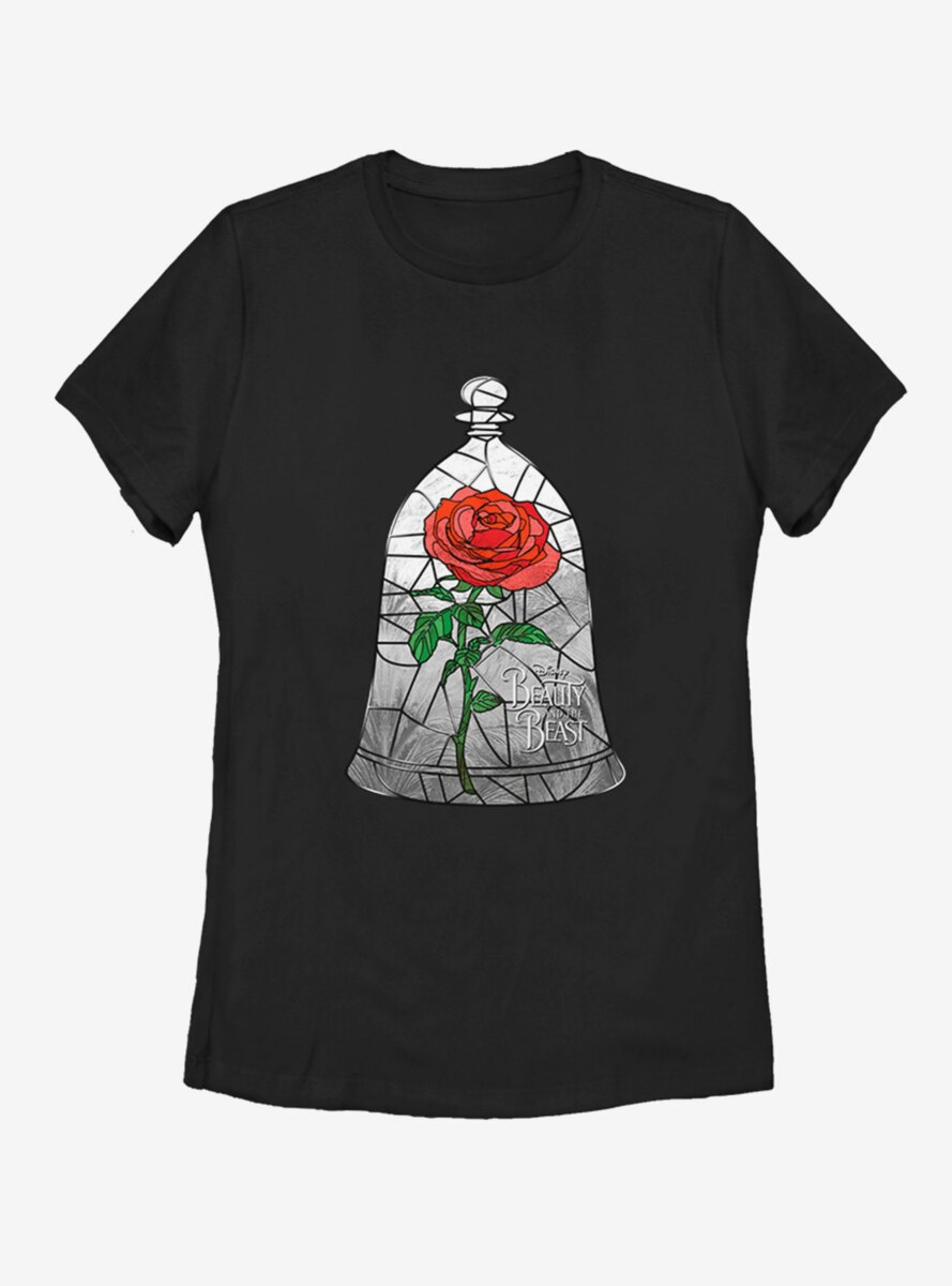 Disney Beauty and The Beast Glass Rose Womens T-Shirt