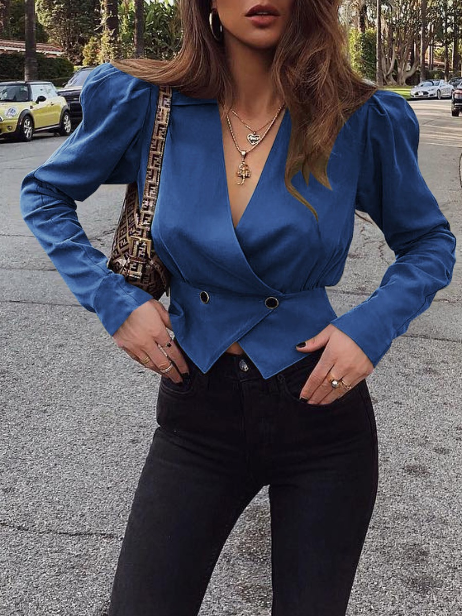 LW lovely Trendy V Neck Buttons Design Blue Blazer